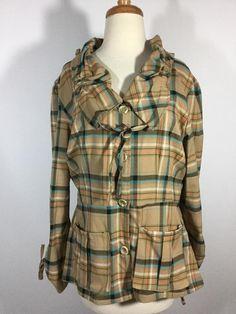 HANNA for LA JOURNEE Jacket Brown Plaid Rayon Blend Size 3 Large EUC #HannaLaJournee #BasicJacket