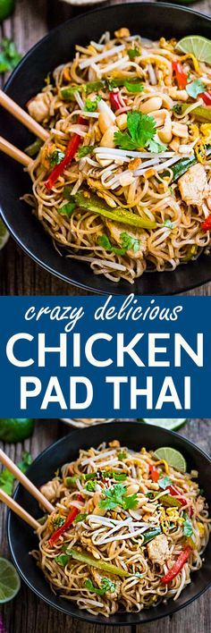 Easy and Authentic Chicken Pad Thai makes the perfect simple weeknight meal and great for Sunday meal prep and leftovers are great for school lunchboxes and work lunch bowls. Best of all, this recipe has gluten free & paleo-friendly options and can cook up in just one pot (pan) with make-ahead tips. Full of the authentic Thai flavors we all love! Way better than any restaurant takeout! #padthai #authentic #takeout #betterthantakeout #copycat #restaurant #chickenpadthai #chicken #noodles