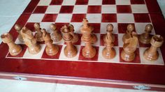 New cherrywood staunton style chesspiece with 44x44cm beautiful maple wood chessbox,special gift,wooden chess set by HandmadeChess on Etsy