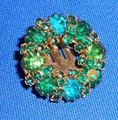 vtg Signed WEISS Blue & Green Crystal Rhinestone Clip Back Earring Single Gold T
