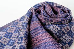 手織り絹ストール【月雲】