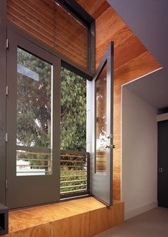 A French balcony or faux balcony includes a railing across the opening but allows more ventilation than a window.