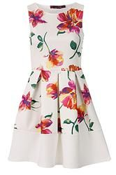 A fashion look from September 2015 featuring short summer dresses, high heel pumps and mid-finger rings. Browse and shop related looks. Long Skater Dress, White Skater Dresses, Floral Skater Dress, White Sleeveless Dress, White Floral Dress, White Dress Summer, White Mini Dress, Long Sleeve Mini Dress, Floral Dresses