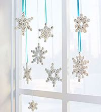 Pasta Snowflakes (via Parents.com).  I wonder how easy it would be for the preschoolers to do this as a project?  Looks beautiful, though!