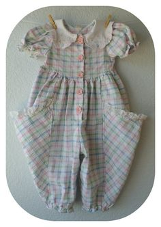 Vintage Baby Girl Clothes  Plaid Pastel Jumper  Size by NellsNiche, $12.00