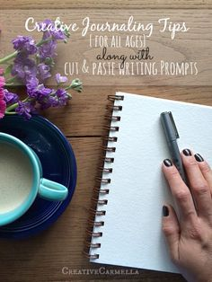 creative journaling tips..for every age. Cut & paste writing prompts that make journaling easy.