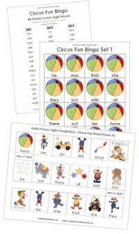 Dolch word list Bingo & Board games