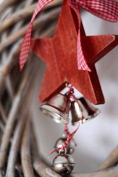 <3...wooden red heart...bells...ribbon
