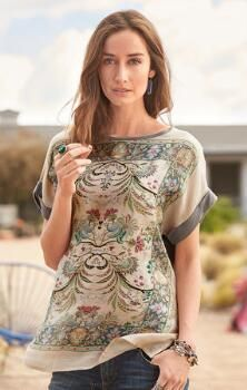 The airy grace of our rayon/silk floral print top will lend an air of delicate elegance to any ensemble.