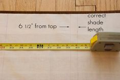 Step 11: The Martha tutorial says to draw a line 6 1/2 inches below the top of shade to determine where your batten will hit. Measure the fabric from the bottom to make sure the overall height was correct.  But it's still a good idea to double check when you're doing this step. Use a lot of trial and error when determining the placement of the batten–hold fabric up to window to determine location of batten, roll batten, staple, hold fabric up to window, unstaple if necessary and try again. Roman Shade Tutorial, Cordless Roman Shades, Batten, Drapes Curtains, Window Treatments, Design Projects, Decor Ideas, Draw, Classic