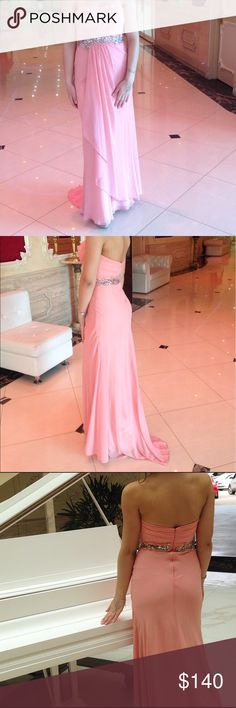 Gorgeous Long Strapless PromDress wPleated Bodice Gorgeous asymmetrical pink prom dress. Back zipper. 100% polyester, chiffon. Beads, Gemstones, Sequins, Ruching. Jovani Dresses Wedding