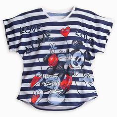 I love this!! Mickey and Minnie Mouse Striped Tee for Women - Navy.