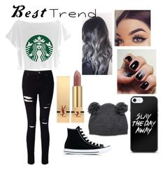 """Untitled #36"" by bruhitsgabby113 ❤ liked on Polyvore featuring Miss Selfridge, Converse and Yves Saint Laurent"