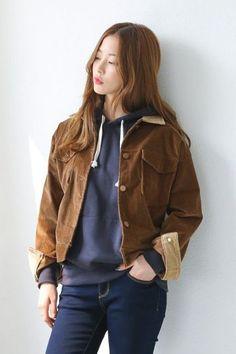 Collar Corduroy Jacket | Korean Fashion