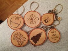 Woodburned Christmas Slab Ornaments
