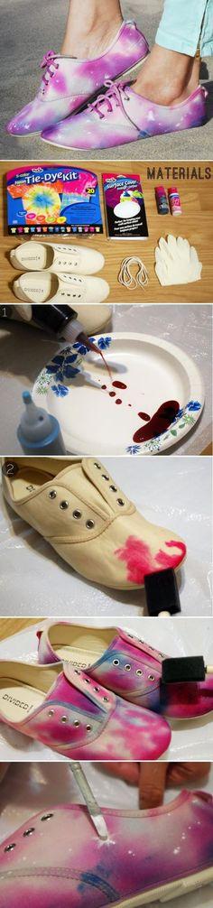 DIY : Tie Dye Galaxy Shoes: