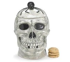 I found 'Scary Skeleton Skull/head Cookie Jar with Spider on Top of Skull Great for Halloween Goodies' on Wish, check it out!