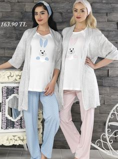 Baha Yeni Sezon Tavşancıklı Hamile & Lohusa 3'lü Pijama ve Sabahlık Takımı 2736  http://www.pijama.com.tr/lohusa-pijama