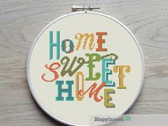 modern cross stitch pattern Home sweet home cross by Happinesst Types Of Stitches, Cross Stitching, Cross Stitch Embroidery, Cross Stitch Patterns, Christmas Cross, Merry Christmas, Xmas Ornaments, Le Point, Retro Style