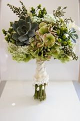 Vintage green wedding bouquet with succulents
