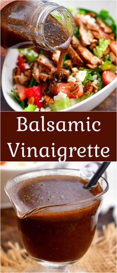 Vinegar Salad Dressing, Vinaigrette Dressing, Salad Dressing Recipes, Salad Recipes, Salad Dressings, Balsamic Vinaigrette Recipe, Balsamic Dressing, Balsamic Vinegar, Easy Homemade Recipes