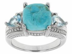 10mm Square Cushion Cabochon Turquoise And .91ctw Pear Shape Glacier Topaz(Tm) Sterling Silver Ring