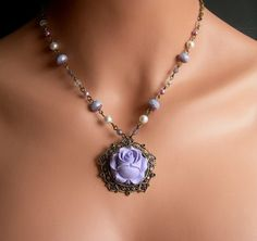 One Of A Kind Rosary Style Flower Necklace Victorian by casamoda, $34.00