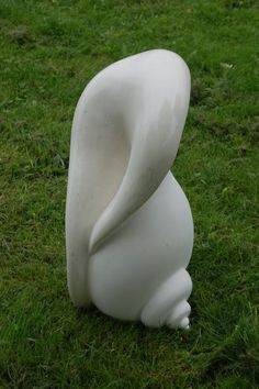 Maltese limestone Indoor Abstract sculpture by artist Melanie Wilks titled: 'Femmeshell (Semi Abstract Shell stone Statues)' £834 #sculpture #art
