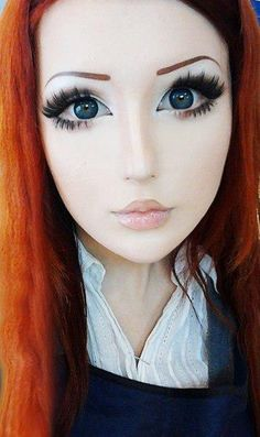 Real Life Woman That Transforms Herself Into Looking Like a Wide-Eyed Anime Character [ UpUrGame.com ] #cosplay #anime #game