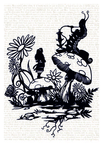 "Image of Luxury Print ""Alice & The Caterpillar"" Alice In Wonderland (Black) By Paper Panda"