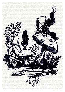 "Image of Luxury Print ""Alice & The Caterpillar"" Alice In Wonderland (Black)…"