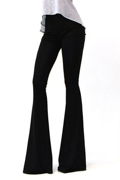 Women's Printed or Solid Bell Bottom Knit Pants Flare Pants