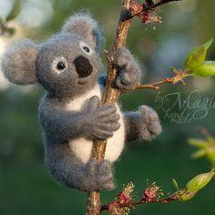 Felted koala, felt animal, wool toy, needle felted creature, gift, Australia