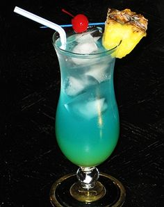 Electric Smurf: 2 oz. Malibu Coconut Rum - 1 oz. Blue Curacao - 1 oz. Pineapple Rum - 2 oz. Pineapple Juice - 2 oz. Sprite. Place the three spirits and Pineapple Juice into an ice filled cocktail glass.  Top with the Sprite, garnish accordingly, and serve.  You can leave it somewhat layered, or give it a good stir. Garnish with a pineapple wedge and/or cherry.