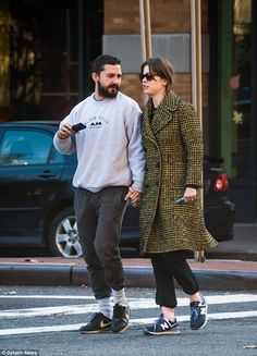 He's out: Shia LaBeouf was seen enjoying some fresh air and some alone time with girlfrien...