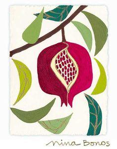 Florals: Pomegranate Prosperity, giclée print by Nina Bonos Pomegranate Pictures, Pomegranate Art, Wool Applique Patterns, Print Patterns, Plant Illustration, Graphic Illustration, Mid Century Art, Fruit Art, Drawing For Kids