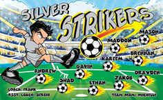 Strikers-Silver-152078 digitally printed vinyl soccer sports team banner. Made in the USA and shipped fast by BannersUSA. www.bannersusa.com