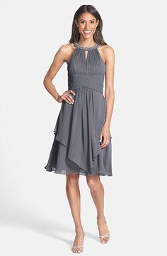Eliza J Embellished Neck Layered Chiffon Fit & Flare Dress | Nordstrom