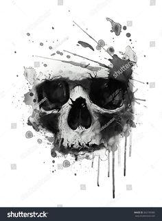 skull print/skull illustration/evil skull/concert posters/skull canvas print/skull tattoo/skull art/watercolor skull/Black grunge vector skull/Human skull on isolated white background/T-shirt Graphics Tatto Skull, Skull Tattoo Design, Skull Design, Tattoo Trash, Trash Polka Tattoo, Bild Tattoos, Body Art Tattoos, Zen Tattoo, Trendy Tattoos