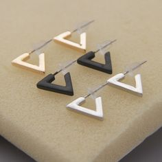 Matte black The new minimalist design geometry cos sole texture punk triangle female stud earrings earrings