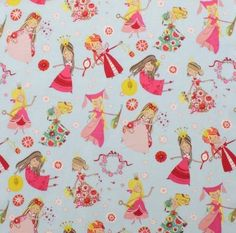 I have 2 little girls and know numerous others who would love this fabric!  I'm thinking a full 40's swing skirt? 1/2 Metre Alexander Henry - Fair Maidens Baby Blue. Princess Flower Girl