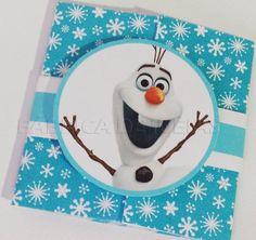 Convite Personalizado Frozen com faixa de papel e aplicação do Olaf (boneco de neve).  Confeccionado no paper vergê 180gr.  Tamanho aproximado: 10x20cm aberto e 10x10cm fechado    Acompanha embalagem plástica e adesivo para que você escreva o nome dos convidados. R$ 3,39