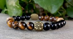 FREE SHIPPING  Men Bracelet Brown Tiger Eye by Braceletshomme