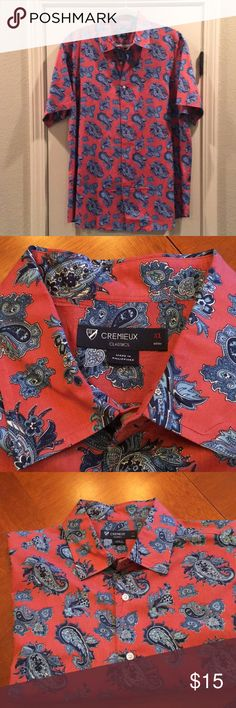 """Cremieux Paisley Button Up Shirt Fresh from the cleaners, this stylish button up Cremieux would be a great addition to any man's wardrobe. 25"""" armpit to armpit and length is 31.5. Daniel Cremieux Shirts Casual Button Down Shirts"""