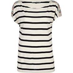 white stripe embellished shoulder t-shirt - t-shirts - t shirts / vests / sweats - women - River Island