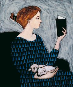 She Reads, 1962, by Brian T. Kershisnik (American).