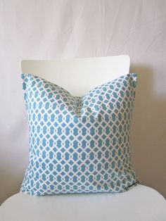 16 inch throw pillow cover, Tiffany's blue, aqua, light teal, color. Loopy pattern, modern print. For indoor use.. $13.95, via Etsy.