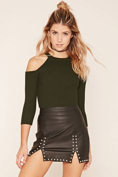 Ribbed Knit Open-Shoulder Top