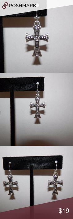 "Silver Crystal Cross Earrings Silver tone earrings with crystal accents 1.5"" drop New, handmade Jewelry Earrings"