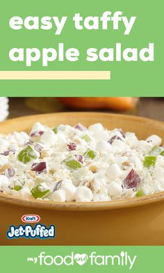 Easy Taffy Apple Salad – Say hello to a potluck favorite! Red and green apples combine with crushed pineapple, COOL-WHIP, JET-PUFFED Mini Marshmallows, and roasted peanuts to create a shareable sweet side dish recipe. Taffy Apple Salad, Apple Salad Recipes, Fruit Recipes, Fall Recipes, Holiday Recipes, Dessert Recipes, Cooking Recipes, Recipies, Fruit Dishes